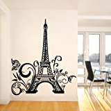 """Olivia Huge Eiffel Tower Paris City France Wall Decals Vinyl Removable Wall Stickers Graphic Art for Living Room Bedroom Office House Design Home Decor (Black, 23.6"""" X 42.5"""")"""