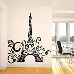Tall eiffel tower wall decal huge paris city for Eiffel tower mural