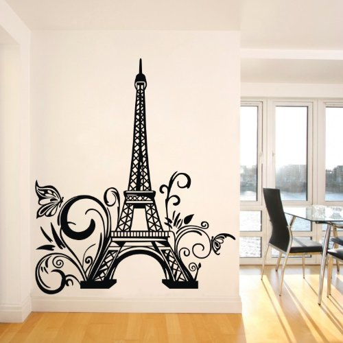 """Tall Eiffel Tower Wall Decal Huge Paris City Sticker Decor Wall Sayings Decal Vinyl Wall Art Words Lettering Quotes Mural Art Room Home(23.6"""" X 42.5"""") front-1088999"""