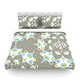 "Kess InHouse Miranda Mol ""Ornamental Splash Silver"" Gray Cotton Duvet Cover, 88 by 104-Inch"