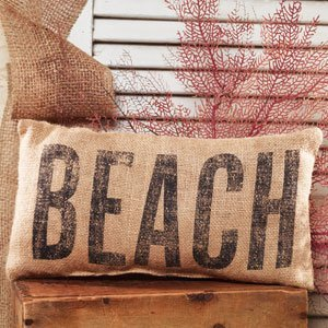"""BEACH"" French Country Burlap Accent Pillow - Natural Burlap/Black - 6-in x 12-in"
