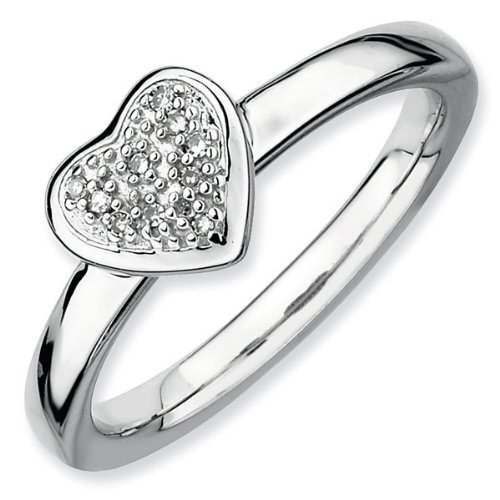 Diamond Heart Cluster Stackable Ring 1/20ctw - Size 6