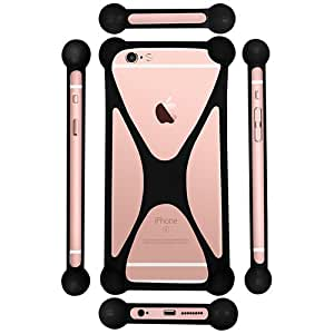 Casotec Universal Silicone Bumper Frame Soft Gel Phone Case Cover for Intex Cloud M5 II - Black