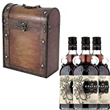 3 x The Kraken Black Spiced Rum 70cl Bottles in Antique Style Gift Box with Hand Crafted Gifts2Drink Tag