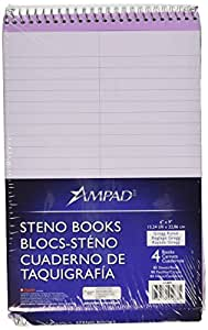 Ampad Pastel Steno Books, Orchid, 80 Sheets per Book, 4 Pack (45-288)