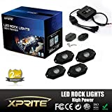 Xprite 3rd-Gen 4 Pods Multicolor Neon LED Light Kit RGB LED Rock Lights with Bluetooth Controller For Timing, Music Mode, Flashing