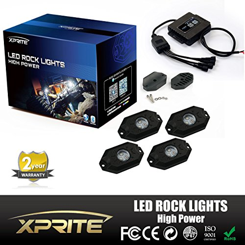 Xprite 3rd-Gen 4 Pods Multicolor Neon LED Light Kit RGB LED Rock Lights with Bluetooth Controller For Timing, Music Mode, Flashing (Auto Crane Remote compare prices)