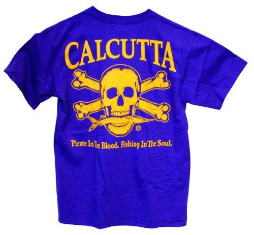 Calcutta Men'S Original Logo Short Sleeve Tee With Pocket (Purple, Xxx-Large)