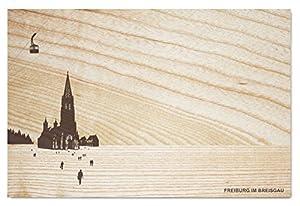 """Frühstücksbrettchen """"Schöne Aussichten"""" Freiburg im Breisgau, City-Brettchen aus deutscher Esche, geölt (hellbraun)"""