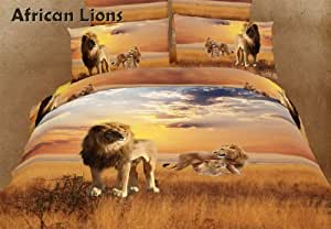 African Lions - Safari Themed - 6 Pc. King Duvet Cover Bedding Set (1 Duvet Cover, 1 Fitted Bed Sheet, 2 Shams, 2 Pillow Cases) - Includes a Gift Box and Gift Bag - SAVE BIG ON BUNDLING!