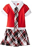 Nannette Little Girls' Plaid Dress with Mock Tie and Shirt