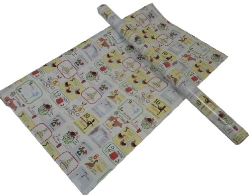 The Gift Wrap Company 2 Rolls Holiday Gift Wrap Paper, 12 Days Of Christmas, Each Roll 24-Inch X 16-Foot