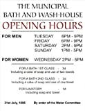 2359 EXTRA LARGE THE MUNICIPAL BATH AND WASH - HOUSE OPENING HOURS FUNNY METAL ADVERTISING WALL SIGN RETRO ART