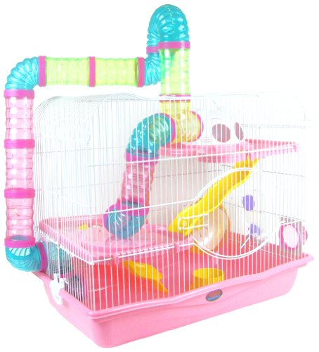 AquarLine Dublin Small Animal Cage Suitable for Syrian Hamsters/ Rats/ Gerbils and other Small Animals , Extra Large, Pink 51ukblEaRHL