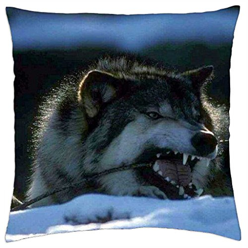 "Biting on a piece of wood - Throw Pillow Cover Case (18"" x 18"")"
