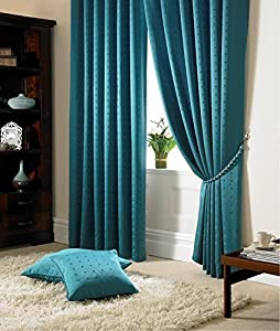 """Jacquard Check Teal 90x108"""" 229x274cm Lined Pencil Pleat Curtains Drapes from Curtains"""
