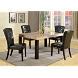 5 PC Contemprory Faux Marble Dining Set , Ivory Espresso
