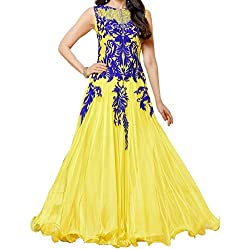 Karishma lemon floor length anarkali dress material