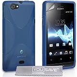 Sony Xperia Miro Tasche Silikon Gel X-Linie Hülle - Blau