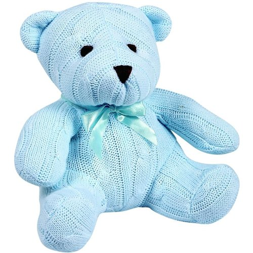 Elegant Baby Cotton Cable Knit Teddy Bear - Blue