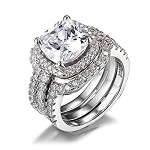 Jewelrypalace Women's 6.87ct Cushion Halo Engagement Ring Bridal Set Wedding Anniversary 925 Sterling Silver Cubic Zirconia Size 9