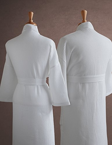 Luxor Linens Egyptian Cotton Mr./Mrs. Waffle Weave Robe - Perfect Wedding Gift! - Mr. & Mrs. with Gift Packaging