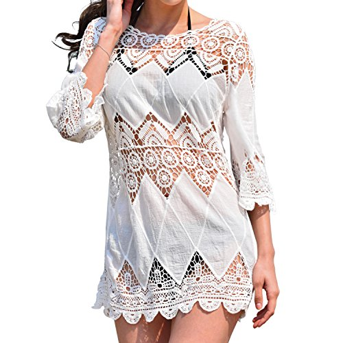 3a1bf558b MG Collection White Crocheted Cotton Bohemian Swimwear Cover Up / Beach  Dress