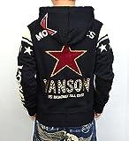 VANSON バンソン NVSZ-606 裏毛パーカー ワンスター さがら刺繍 ワッペン 刺繍 バイカー アメカジ ブラック色 アメカジ バイカー ロック 髑髏 ドクロ サイズXL