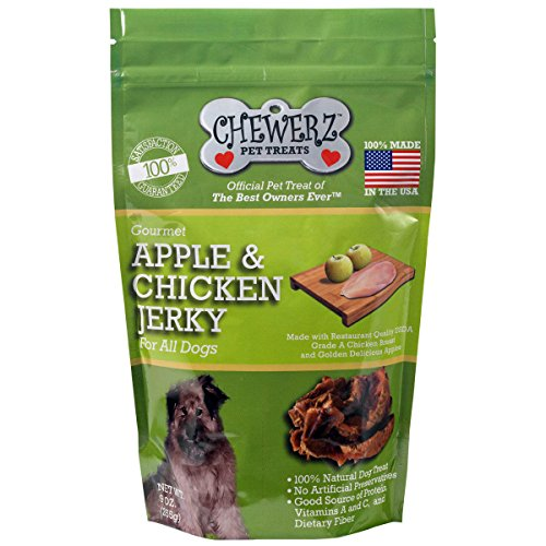 Chewerz APPLE & CHICKEN JERKY DOG TREATS - Made in USA Only - Best Pet Snacks Since Homemade - Premium All Natural Healthy Chews For Dogs - 3 Ingredient Treat - Satisfaction Guarantee (9 oz) (Made In America Rawhide compare prices)