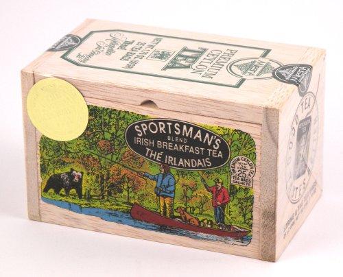 Sportsman'S Blend Irish Breakfast Ceylon Black Tea, 25 Bags In Decorative Wood Crate Chest - Sale