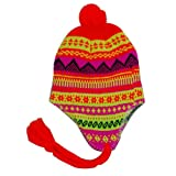 Unisex Neon Orange Argyle Pattern Knitted Peruvian Beaani Style Bobble Hat with Tassles