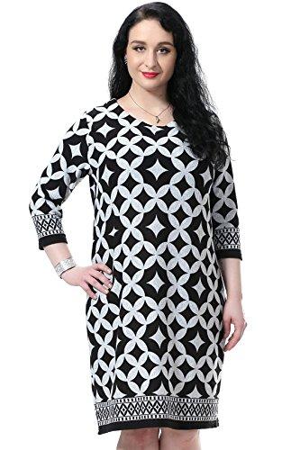 Chicwe Women's Plus Size Cashmilon Harllequin Shift Dress (US16