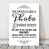 Rustic Photo Booth Table Sign for Weddings and Party Props (L) (White)