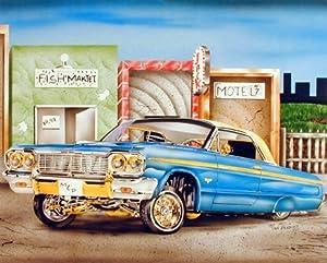 Blue & Gold Lowrider Classic Vintage Car Wall Decor Art Print Poster