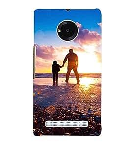 Printvisa Father Son At Sun Set Back Case Cover for YU Yuphoria::Micromax Yuphoria YU5010