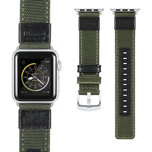 Apple Watch Series 2 Band, Benuo Premium Nylon Woven Smart Watch Replacement, 42mm Wrist Strap with Adjustable Buckle for New Apple iWatch Series 2/ Apple Watch Series 1/Nike+ (Green, 42mm) 1