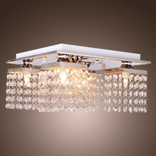 Lightinthebox Crystal Ceiling Light With 5 Lights Chrome, Modern Flush Mount Ceiling Lights Fixture For Hallway, Bedroom, Living Room With Bulb Included