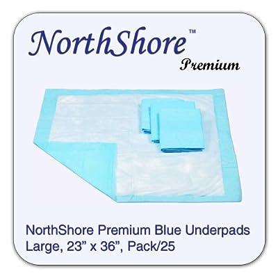 NorthShore Premium Blue Disposable Underpads (Chux), Large Size 23 x 36, Pk/25