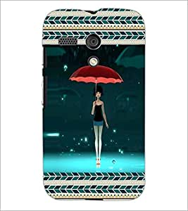PrintDhaba Umbrella Girl D-5965 Back Case Cover for MOTOROLA MOTO G (Multi-Coloured)
