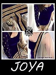 JJR Store Designer Blue Velvet Embroidered Dress material