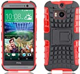 myLife Ferrari Red + Gray {Rugged Design} Two Piece Neo Hybrid (Shockproof Kickstand) Case for the All-New HTC One M8 Android Smartphone - AKA, 2nd Gen HTC One (External Hard Fit Armor With Built in Kick Stand + Internal Soft Silicone Rubberized Flex Gel Full Body Bumper Guard)