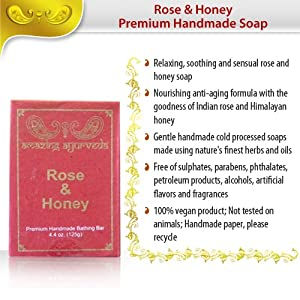 Amazing Ayurveda Premium Handmade Soap, Indian Rose and Honey, 4.4 Ounce