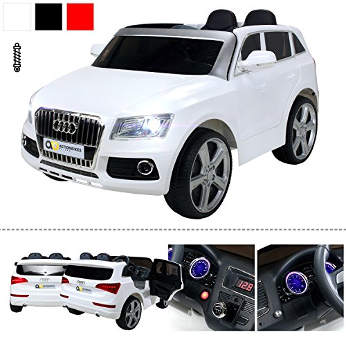 kinder elektroauto audi q5 lizenziert ledersitz 2 x 35 watt motor wei. Black Bedroom Furniture Sets. Home Design Ideas