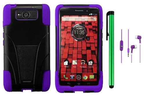 #1  Motorola DROID ULTRA MAXX XT1080M / Motorola Obake (Verizon) Accessory - Premium Stand Protector Hard Cover Case + 3.5MM Stereo Earphones + 1 of New Metal Stylus Touch Screen Pen (Purple / Black)