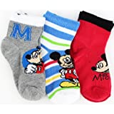 Disney Mickey Mouse &quot;M&quot; 3-Pack Toddler Socks 2-4