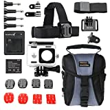 SUTEFOTO XIAOMI YI Basicly Equipment Accessories Kit,Waterproof Housing + 1010 mAh Battery + Charger + Head Strap +Flat Mount with 3M Adhesive + Wrist Strap+ 1/4 Tripod + Screws +Carry Bag