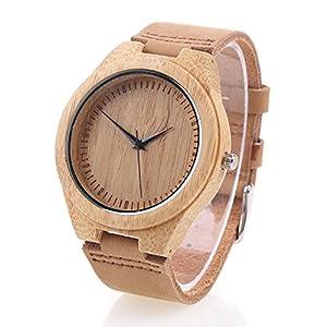 FYHSHOP Bamboo de Montre en bois avec bracelet en cuir Mouvement à quartz japonais - marron marca yowao-es-tta