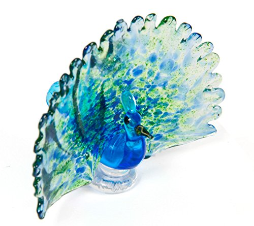 Hand Crafted Glass Peacock Ornament or Figurine