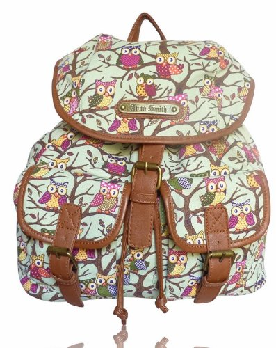 LYDC Anna Smith Designer Vintage Retro Style Owl & Trees A 1317 Green Backpack Rucksack Bag Shoulder Bag Purse