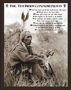 Ten Indian Commandments Native American Sitting Art Poster Print Mini Poster Mini Poster Print, 16x20